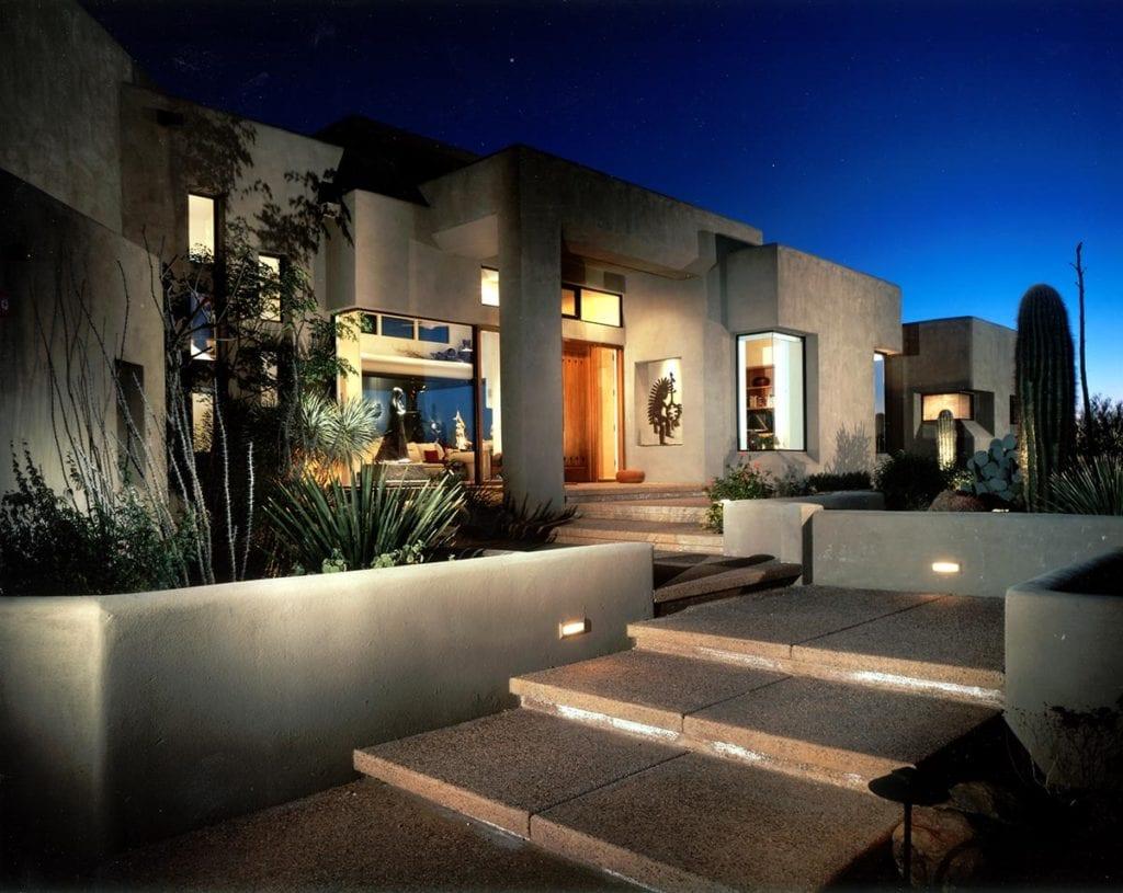 Exterior of a Southwest contemporary design for custom home in Scottsdale, AZ